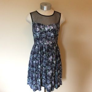 UO Kimchi Blue mesh watercolor dress floral